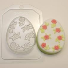 Форма пластиковая Яйцо плоское Мелкие цветочки